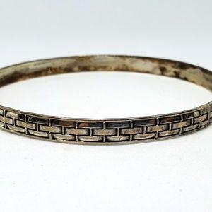 Vintage Jewelart Sterling Silver Braid Bangle